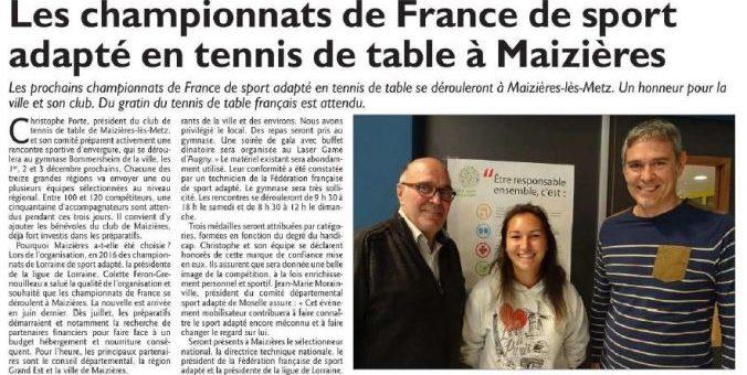 Le Républicain Lorrain présente les championnats de France des Régions de tennis de table de Sport Adapté